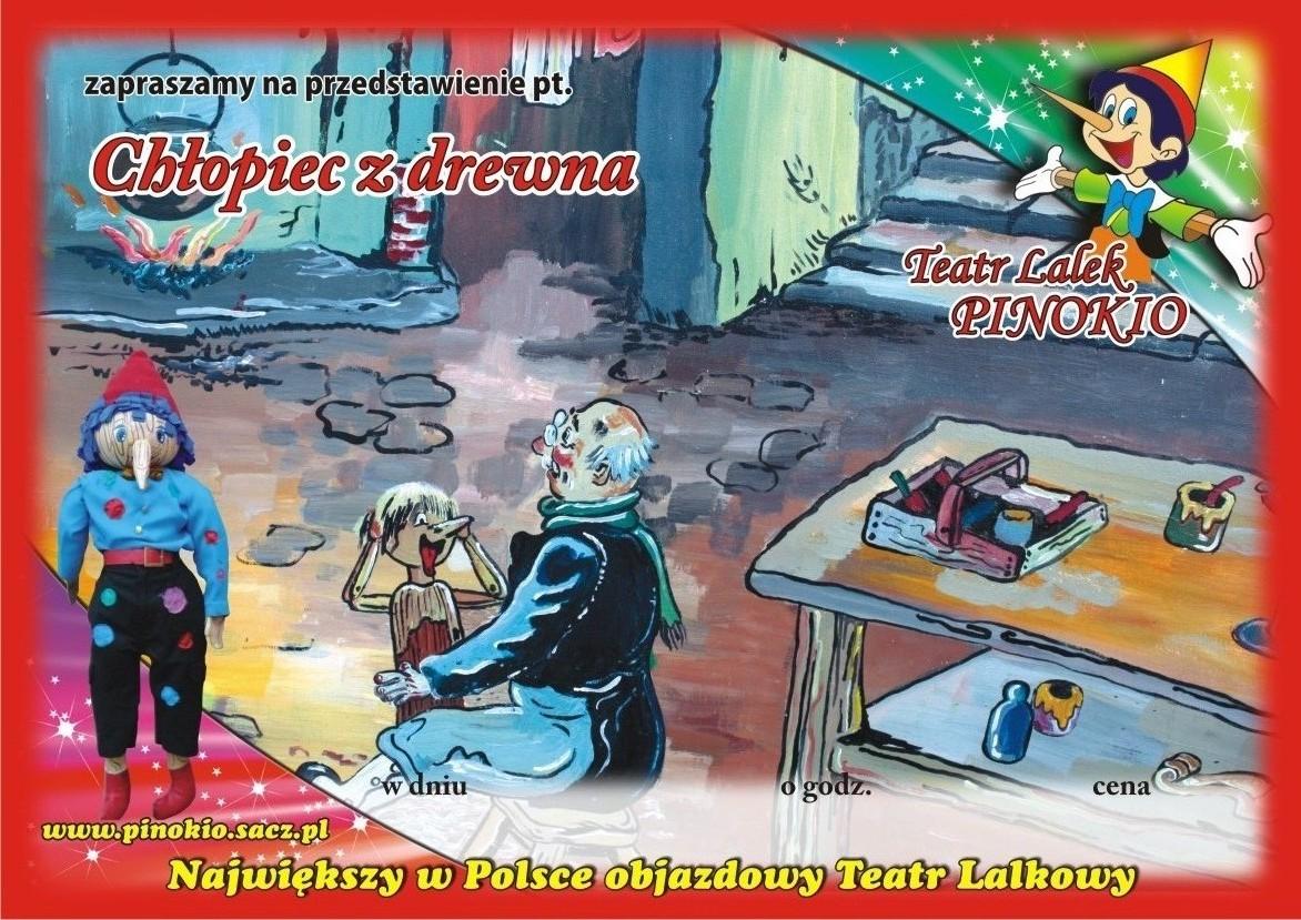 Chłopiec z drewna Teatr Lalek Pinokio www.pinokiosacz.pl, spektakle dla dzieci