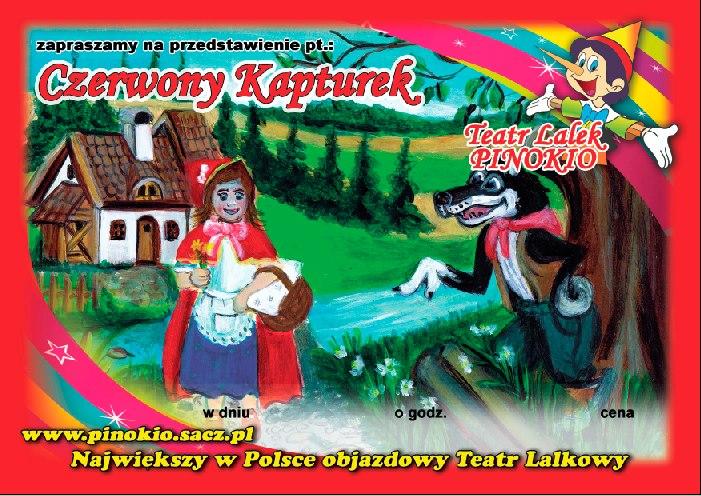 Czerwony Kapturek Teatr Lalek Pinokio www.pinokiosacz.pl, spektakle dla dzieci